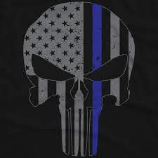 blue lives matter punisher skull flag