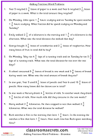 Adding Fractions Word Problems | Classroom Secrets