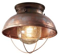 ceiling lodge rustic country western weathered copper light