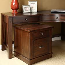 curve varnished wooden come desk with drawer and varnished wooden cabinet plus flat grey cabinet hardware