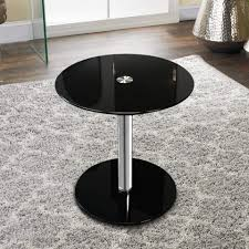 17 1 2 inch black round modern glass side table
