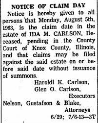 Ida Swanson Carlson estate - Newspapers.com