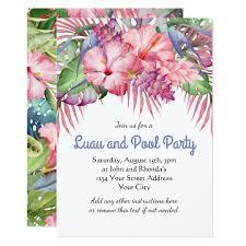 Hawaiian Pool Party Invitations Aloha Tropical Floral Luau Pool Party Invitation Zazzle Com