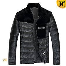 designer down filled leather jacket black for men cw848109