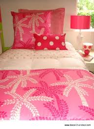 lilly pulitzer bedding custom pink palm tree dorm room set inspired bed sheets