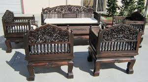 Wooden Living Room Chairs Hand Carved Set Of 8 Piece Teak Wood Living Room Set K Style