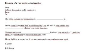 Resigned Format 40 Two Weeks Notice Letters Resignation Letter Templates