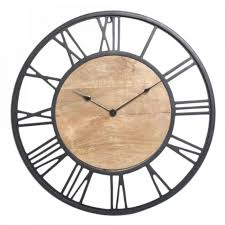60cm black and wood round clock