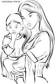 Kleurplaat Voor Volwassenen Moeder Met Kind