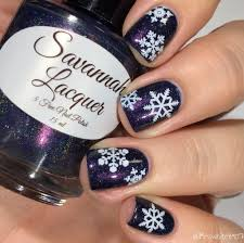 Christmas Nail Art Blue and White Snowflakes Nail Water Decals ...