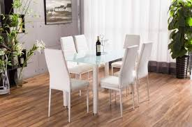 lunar white rectangle glass dining table and 6 white montero dining chairs set