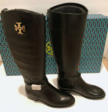 tory burch sofia black leather buckled riding boot 6 for