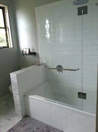 half wall shower shower tub combo w glass wall but would need the half wall to