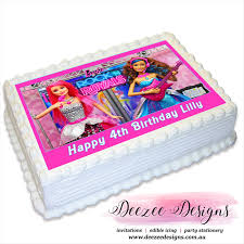 Barbie Rock Royals Personalised A4 Edible Cake Topper Deezee