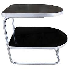 art deco machine age streamline modern chrome black tiered end table duro chrome for