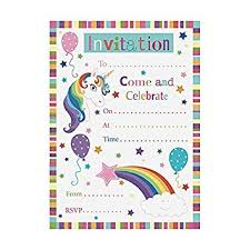 Pack Of 20 Unicorn Party Invitations Amazon Co Uk Office Products