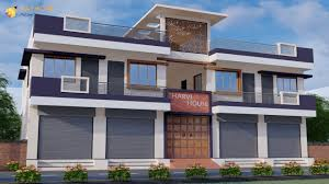 House With Shop Design 60 Feet Front Elevation Shop Cum House Small Flat Design