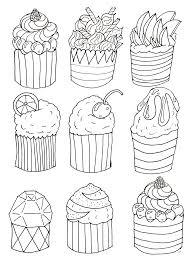 Simple Cupcakes Coloring Page Original Drawing