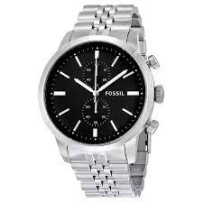 fossil townsman chronograph black dial stainless steel mens watch zoom fossil fossil townsman chronograph black dial stainless steel mens watch fs4784f