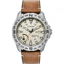 men 039 s power reserve tan leather eco drive watch