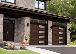 Modern garage doors Mid Century Modern Standard Vog 9 8 Chocolate Walnut Window Layout Right Garaga Garage Doors Contemporary Garage Doors Garaga