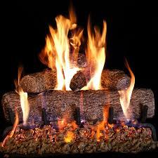 com peterson real fyre 24 inch live oak log set with vented burner match lit natural gas only home kitchen
