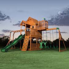 Backyard Discovery Playsets - Skyfort II Wooden Swing Set ...
