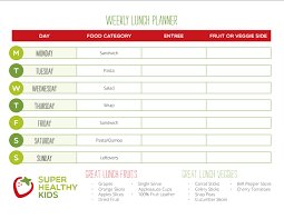 Healthy Lunch Weekly Planner Healthy Ideas For Kids