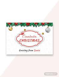 Free Santa Christmas Greeting Card Template Word Psd