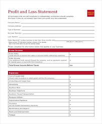 Profit Loss Statement For Self Employed Free 8 Sample Profit And Loss Statement Forms In Pdf Xls