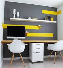 yellow office decor. Budget Home Office Design With White IKEA Floating Shelf Yellow Decor O