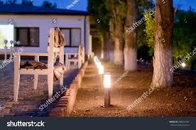 Patio Lights In Ground Row Illuminated Outdoor Lights Ground Alongside Stock Photo