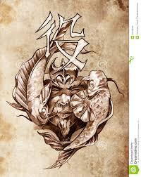 ратник Tattoo эскиза искусства японский иллюстрация штока