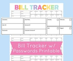 bill organizer template monthly bill organizer printable expense tracker bill