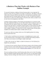 A Business Plan That Works With Business Plan Outline Example