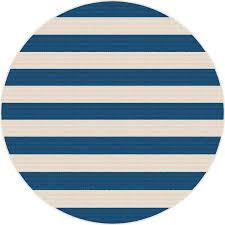 8 round navy blue stripe indoor outdoor rug garden city rc willey furniture