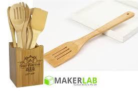 personalised cooking baking utensils and holder makerlab uk bespoke wood acrylic metal s gifts