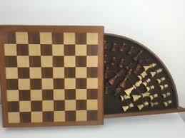 Vintage Wooden Board Games VINTAGE WOODEN Oak CHESSBOARD Chess Set Carved Wood Hinged Hidden 87