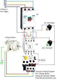 3 Phase Motor Wiring Diagram Control 3 phase contactor wiring diagram 3 phase wiring diagram start stop regarding unique motor starter wiring