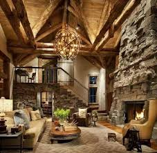 wooden log home interior decorating ideas