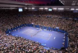 australian open roof the sunset is seen through the open roof of rod laver arena during