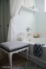our aqua and grey master bathroom
