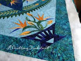 Paradise in Blooms - Quilting by the Bay - A Quilting Tradition & Quilt designed by Judy Niemeyer and pieced by the girls at Quilting by the  Bay. 76″ x 76″ Custom Quilting by Tracy Bell Adamdwight.com