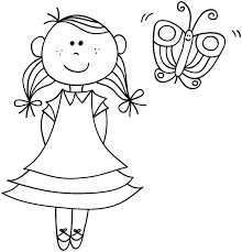 Kleurplaat Meisje Met Vlinder