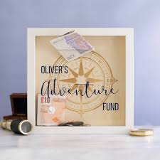 personalised adventure fund money box frame