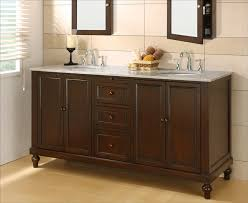 remarkable 70 inch vanity on classic dark brown with marble carrara white top
