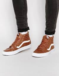 vans sk8 hi leather trainers brown