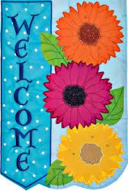 3271fm gerbera daisies trio welcome applique mini garden flag new