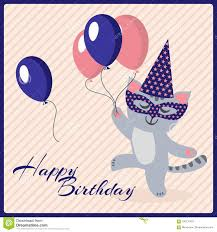 birthday postcard template happy birthday postcard template with cute masquerade cat stock
