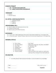 Ece Resume Format Resume Format For Freshers Ece Resume Formats Pdf
